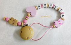 Schnullerkette Eulen Herz Wunschname Baby md167 von myduttel auf DaWanda.com