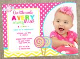 Girls Pink and Yellow Lollipop Birthday Invitation Piglet Printables | Party Invitations & More http://pigletprintables.com