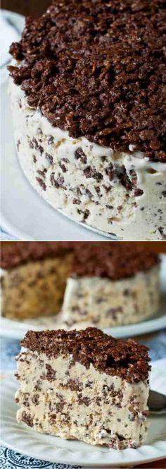 NUTELLA CRUNCH ICE CREAM CAKE - cake, cereal, dessert, ice cream, recipes, vanilla