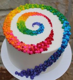 White Cake with Colorful Swirl Pattern