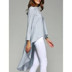 Stylish Pure Color High Low Top For Women - LIGHT BLUE S
