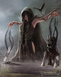 Female Human Arcanist Sorcerer Warlock Wizard Necromancer - Pathfinder PFRPG DND D&D ed fantasy Dark Fantasy Art, Fantasy Artwork, Foto Fantasy, Fantasy Women, Dark Art, Arte Horror, Horror Art, Horror Pics, Fantasy Character Design
