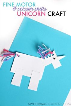 Cute unicorn craft for kids that is great for fine motor skills and scissor skills.