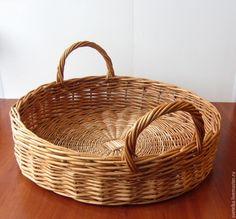 Купить поднос плетеный - бежевый, лоза, ива, ивовая лоза, корзина, поднос, поднос плетеный
