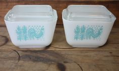 Pyrex Butterprint Amish Rooster Refrigerator by beachpathdesigns, etsy