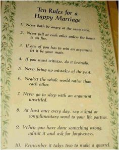 The Ten Relationship Commandments Everyone Breaks Words to live by. I think Ill make a copy of this for our bedroom. :)