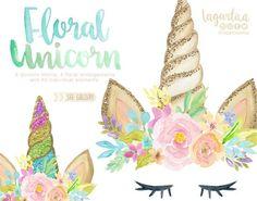 https://www.etsy.com/mx/listing/580165318/cuernos-de-unicornios-en-acuarela-con #unicornhorn #UNICORNIO #floral #watercolor #eyelashes #girly #partyideas #clipart #png #art