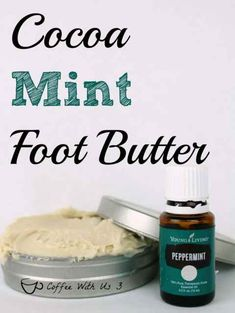 Cocoa Mint Foot Butter is a luxurious butter to help soften your skin. The cocoa butter and peppermint essential oil smell amazing together. Diy Lotion, Lotion Bars, The Body Shop, Young Living Peppermint, Diy Body Butter, Homemade Beauty, Diy Beauty, Homemade Gifts, Diy Gifts