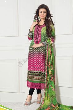 Shopping the designer Green Pink Cotton Churidar Suit with Dupatta now in store. Salwar Suits Online, Salwar Kameez Online, Designer Punjabi Suits, Pakistani Designers, Indian Dresses, Indian Outfits, Costumes Anarkali, Costume Ethnique, Ethnic Suit