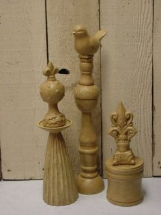 different objects from dollar store put together to make a  finial