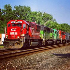A candy apple Soo SD60 leads three SD40-2's of various owners WB with empty crude oil tanks on NS's Chicago Line. Chesterton IN. 07-16-11  #trains_worldwide #trb_express #soo #sooline #emd #sd60 #trains #trains_r_the_best #train_nerds #daily_crossing #rsa_theyards #railfans #railfannation #railfans_of_instagram by another_rs5tfx