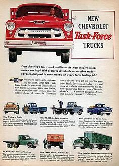 "1955 chevy task force #pickup trucks #""most #modern"" original color ad,  View more on the LINK: 	http://www.zeppy.io/product/gb/2/401025092108/"