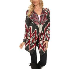 BellaBerry USA Red & Charcoal Geometric Open Cardigan ($43) ❤ liked on Polyvore featuring tops and cardigans