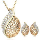 24K Gold Plated Elegant Austrian Crystal Studded African Leaf Pendant & Earring Set Price: INR 420 | India