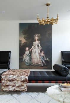 Living room with modern pieces and old world art | THAT PAINTING!