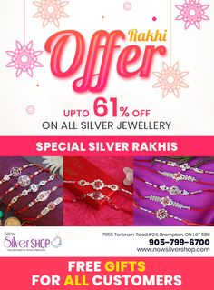 Looking for best Silver Jewellery Shop in Brampton, then visit New Silver Shop, one of the best Jewellers in Brampton - offers sterling Silver Jewelry at very competitive rates. Jewelry Shop, Jewelry Stores, Jewelry Design, Silver Jewellery, Sterling Silver Jewelry, Silver Rakhi, Silver Shop, Free Gifts, Ontario