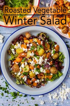 This Roasted Vegetable Winter Salad is a salad for people that think salads aren't filling or they think they are boring. It's the salad for people that think they don't like salads! Warm and hearty - perfect for a cold winter day.  #wintersalad #roastedvegetables #saladrecipe #healthysalad via @hhhdannii