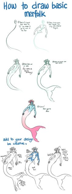 A quick tutorial on how to draw a basic merfolk. Hope it's helpful!