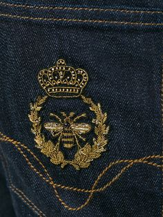 DOLCE & GABBANA Crown & Bee Embroidered Raw Jeans