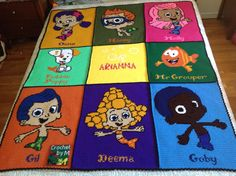 Crochet Full size Patch Bubble Guppies Blanket with girl name Arianna also the Characters names