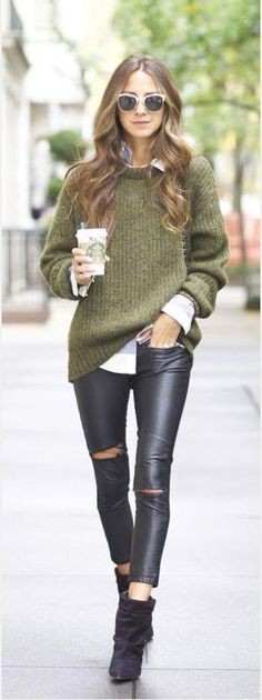 Loose sweater over jeans.  Love this.