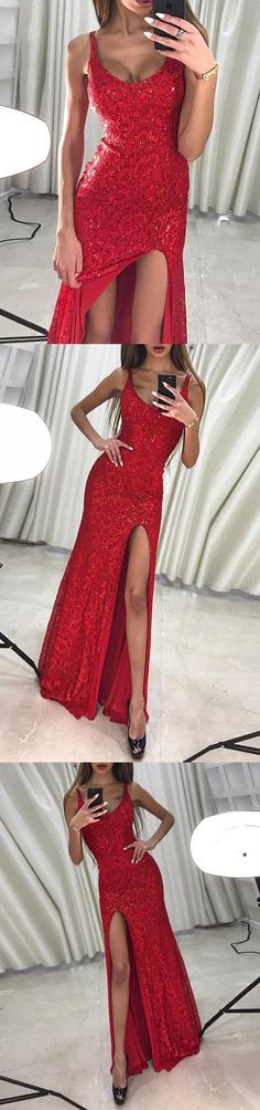 Mermaid Scoop Floor-Length Red Lace Prom Dress with Sequins Split M1105