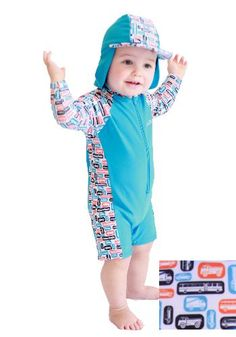 Rashoodz' The Vrooming Vehicles ($49.98) all in one sun protective swimmers, including a detachable hat for staying on, protecting from UV rays and being unloseable ... brilliant! Baby Boy Swimwear, Boys Online, Swimmers, Children, Kids, All In One, Hat, Long Sleeve, Vehicles