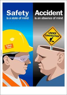 Safety slogan : safety is a state of mind, accident is an absence of mind