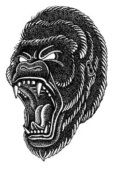 Gorilla head by cristian camilo, via behance traditional tattoo gorilla, traditional tattoos, cool Traditional Tattoo Gorilla, Traditional Tattoo Old School, Traditional Tattoo Flash, Head Tattoos, Sleeve Tattoos, Tattoo Sketches, Tattoo Drawings, Gorilla Tattoo, Tatuagem Old School
