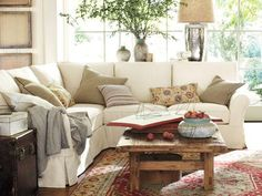 Living room idea.  I like the greenery and lamp behind the sofa.  Like the pillows too.