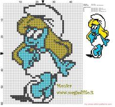 Smurfette cross stitch pattern