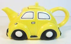Yellow Volkswagen Beetle Bug Car Teapot