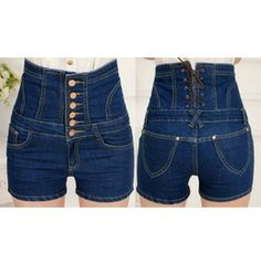 Women's Slimming Blue High Waisted Jean Shorts, Corseted Back, Plus Sizes Ae 213286