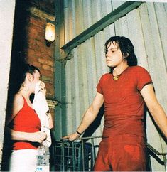 """The White Stripes backstage at The Point, 2001"""