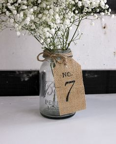 wedding table numbers burlap table numbers  15 by montanasnow, $32.00