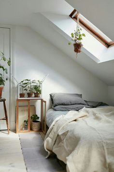 Guest Room  Attic Bedroom In A Charming Plant Filled Attic Apartment In  Sweden   Gravity Home. Bedroom Wallpaper : High Resolution Small ...