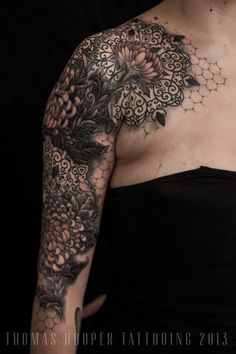 Lace Chrysanthemum Mandala Ornamental Tattoo Sleeve Thomas Hooper Tattooing_5