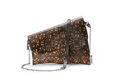 SALE 20 off Black and orange clutch Recycled bag by maykobags, $52.00
