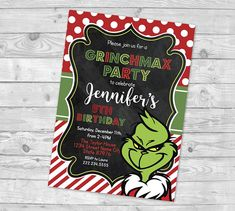 Grinch Party Invitation Grinch Birthday Party The Grinch