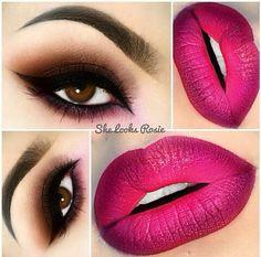 Valentine's Day Makeup Ideas: Brown Smokey Eyes with Berry Ombre Lips Cute Makeup, Pretty Makeup, Crazy Makeup, Prom Makeup, Makeup Goals, Makeup Tips, Makeup Ideas, Gold Eyeliner, Smokey Eye For Brown Eyes