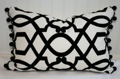 Black and White Cut Velvet Pillow Cover / 14 X 18 / White cotton and black velvet with black pom pom trim and natural canvas back