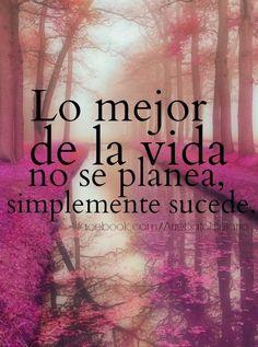 Lo mejor de la vida no se planea, simplemente sucede. :-)