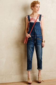 Current/Elliott Boyfriend Overalls #anthrofave / kinda love these with the pocket embroidery and that top