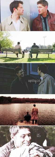 Dean + Castiel: don't ever apologize for us #spn #destiel