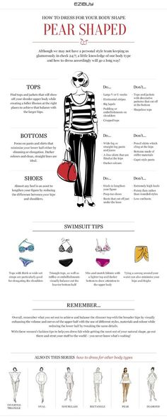 Pear shape - How to dress for your body shape Narrow waist, Smaller bust, Shapely bottom half