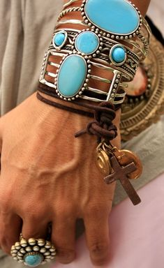 Western jewelry - bracelets, ring, silver, turquoise, leather