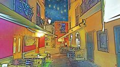 La calle San Agustín de Málaga de noche se viste de Van Gogh