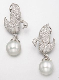 18K WHITE GOLD, DIAMOND AND CULTURED PEARL SWAN EARRINGS