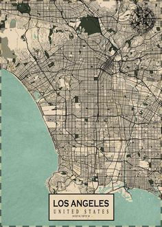 Los Angeles Map, Los Angeles Travel, Map Wall Art, Wall Art Prints, Poster Prints, Blueprint Drawing, United States Map, Cute Patterns Wallpaper, Photo Wall Collage