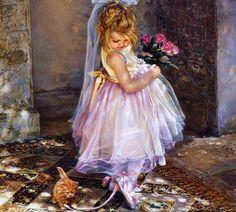 девочка и котеноек - Схемы вышивки - helen577 - Авторы - Портал «Вышивка крестом»